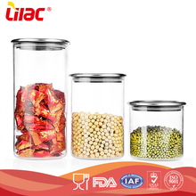 factory wholesale food grade hand-blown Kitchen cylindrical glass food storage containers