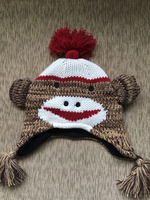 High Quality children's knitted monkey animal winter earflap hat with fleece lining