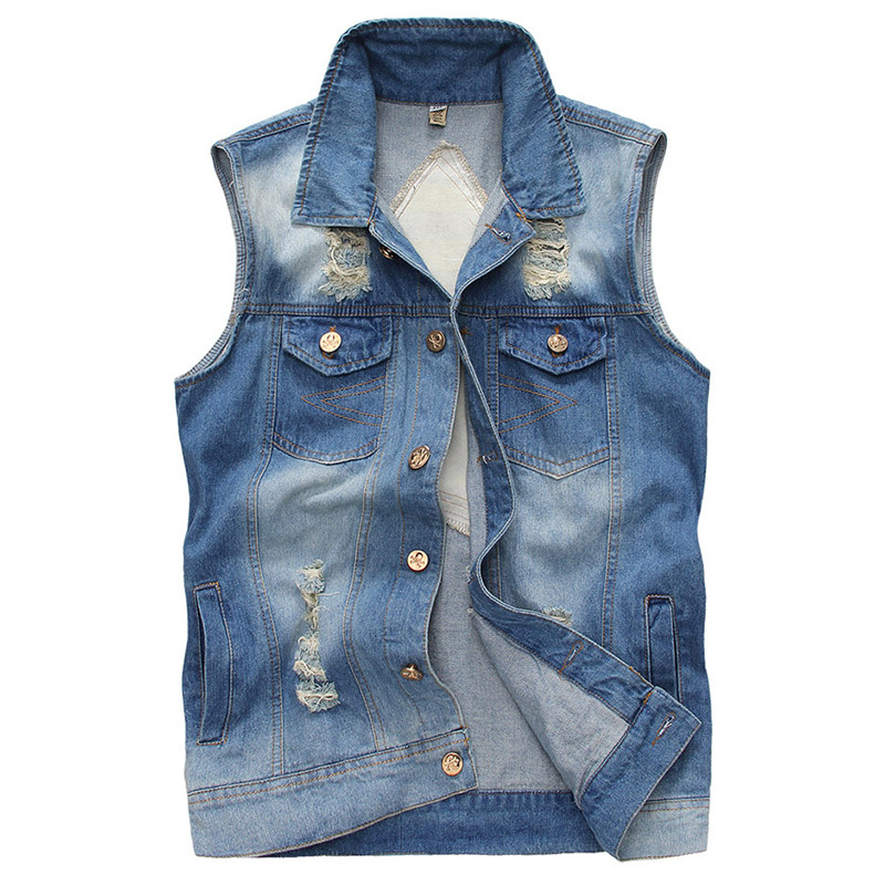 2015 New Fashion Men's Denim Vests Size M-2XL Spring & Summer & Autumn Casual Single Breasted Stylish Leisure Sleeveless Vest