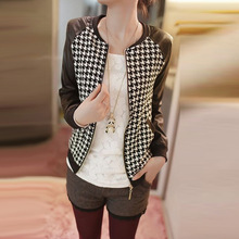 Fashion Women Short Jacket PU Leather Patchwork Crew Neck Long Sleeves Thin Coat Blazer Outerwear Houndstooth Pattern