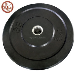 Gym equipment high quality black rubber bumper weight plates barbell plates