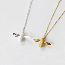 Fashion 925 Sterling Silver Cute Bee Pendant Chain Necklace For Women Collar animal necklaces girl wholesale