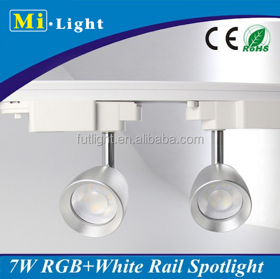 7W RGB+W(WW/CW) color change led track spotlight, Mi.Light remote control 2 lines or 4 lines optional led Track spotlight