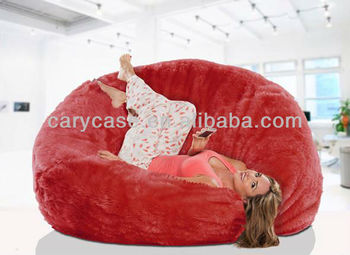 Comfort and style fiery red long fur beanbag, extra large warm bean bag lounger bed,indoor love sac, sit sac