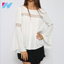 Dongguan Yihao 2017 Summer women New Arrival Ladies White Chiffon Tops Long Sleeve Casual Blouses For Women