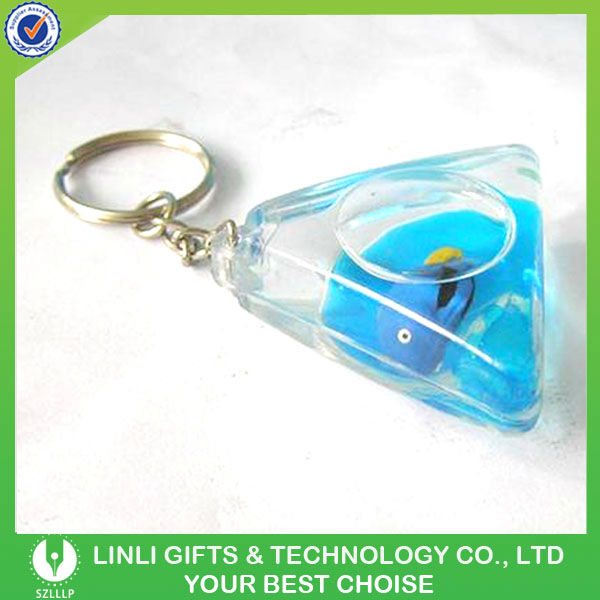 mini water filled triangle keychain gifts