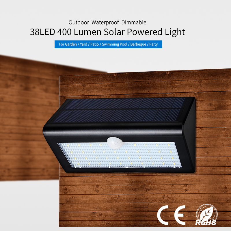outdoor waterproof IP65 wireless solar sensor light 38 led for garden security lighting