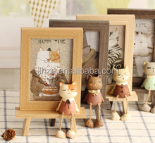 Wooden Crafts Solid Wood Photo Frame Lovely Cartoon meow