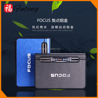 windproof aluminum tobacco box holder Automatic cigarette case with lighter