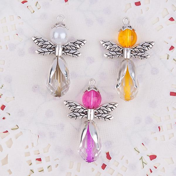 Angel With Glass Orange Fuchsia Beads White Acrylic Pearl Imitation Zinc Based Alloy Guardian Angel Wing Pendants