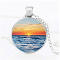 Beach sunset art picture mens jewelry alloy gem glass crystal pendant retro new style gem necklace new accessories