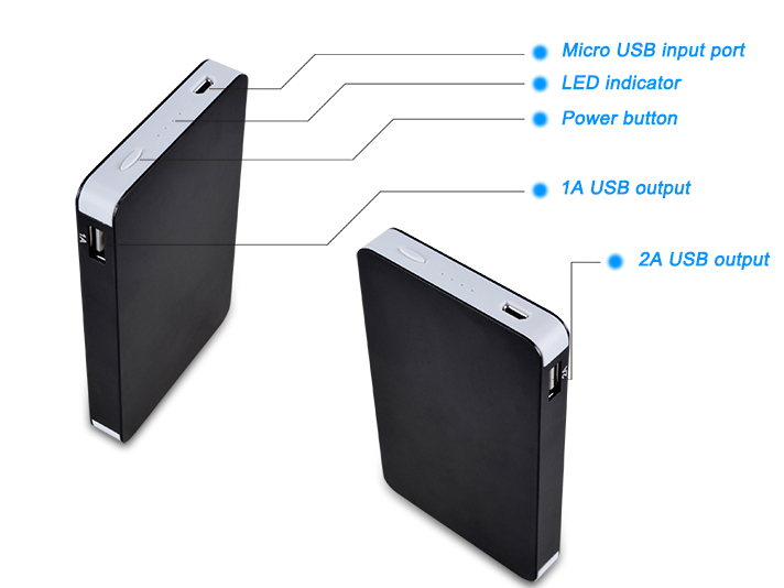 high quality external battery charger with fc ce rohs 10000mah hp power bank