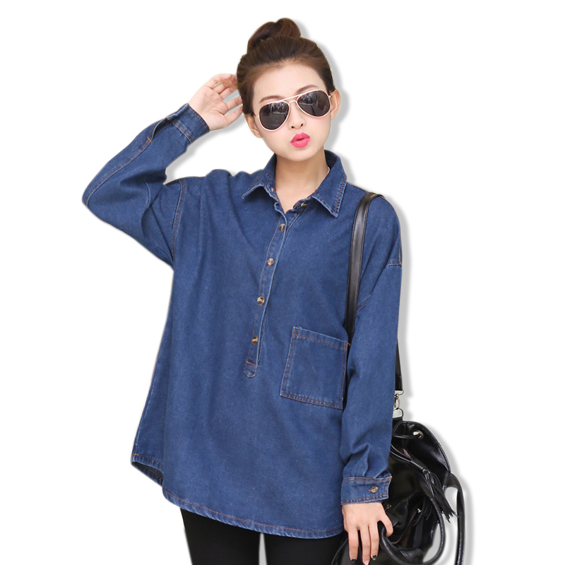 2015 Autumn Casual Loose BF Long Sleeve Denim Shirts Women Jeans Blouse Patchwork Pockets Turn Down Collar Blusas Femininas