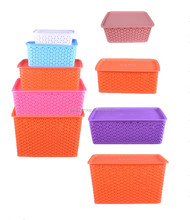 Woven Plastic Storage Organizing Baskets