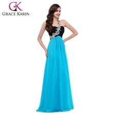 Grace Karin Wholesale Price Ladies Turquoise One Shoulder Chiffon Evening Dress Long CL4447-3