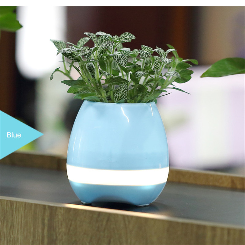 Colorful Night light Bluetooth Flower Pot Smart Speaker Can Play Piano Music 2017 New Version Bluetooth Music Disk Speaker