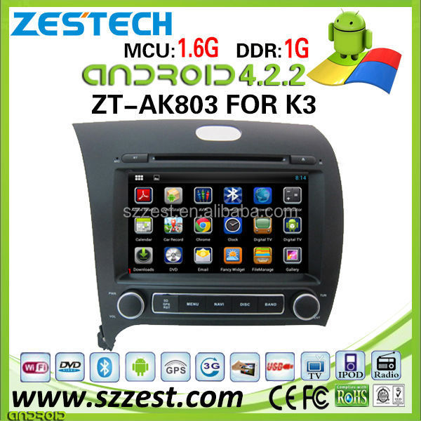 ZESTECH car dvd player for Kia K3 car dvd player DVR Android 4.2.2 capacitive multi touch screen