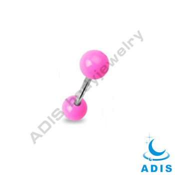 16G Industrial Tougue Barbell with Acrylic Pink Balls