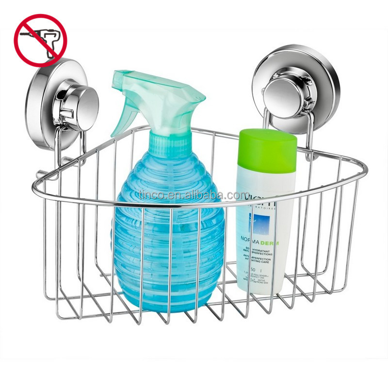 Bathroom Accessory Corner Shower Caddy With Suction Cup Stainless Steel  Basket For Bathroom Storage Rustproof (Chrome)