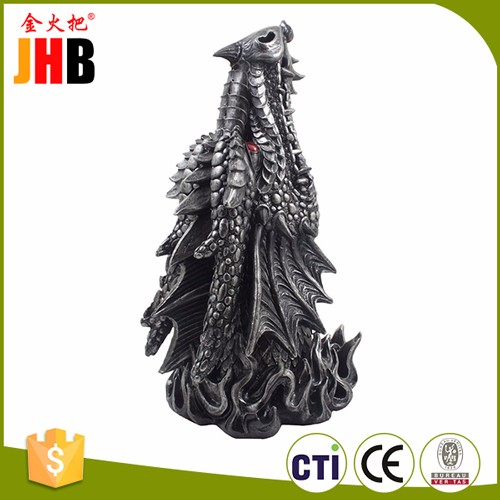 JHB Fire Breathing Dragon Incense Holder & Burner Combo Statue for Sticks or Cones with Decorative Display Stand of Flames