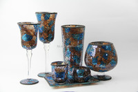 glass candle holders cheap in amber and blue mixed color