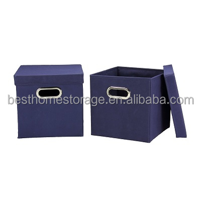 Foldable Non-woven Polypropelyne Storage Cube Box Organizer with Lids Blue, 2-Pack