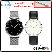 DW style custom logo stainless steel watches with quick release pin for men and women