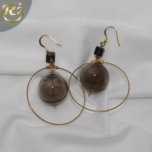 EH-04 Latest Design Temperament Woman Big Size Crystal Ball Arabic Copper Dubai Gold Hoop Earring