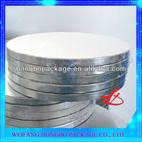 eco-friendly round silver cake drums,silver cake board