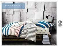 china product classical stripe and dot design 5 pieces twill cotton printed bed sets