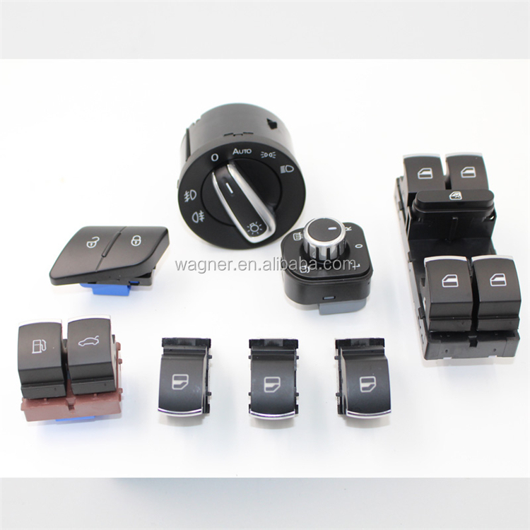 CNWAGNER Car Chrome Headlight Power Electric Window Switch <strong>Passenger</strong> button for VW PASSAT