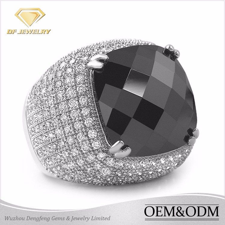 2017 hot style 925 sterling silver black stone ring men's ring for handsome men