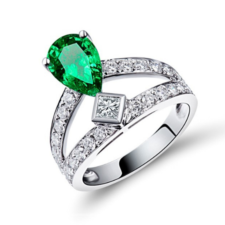factory wholesale natural gemstone fine jewellery 0.87ct green emerald 18k white gold wedding ring for women