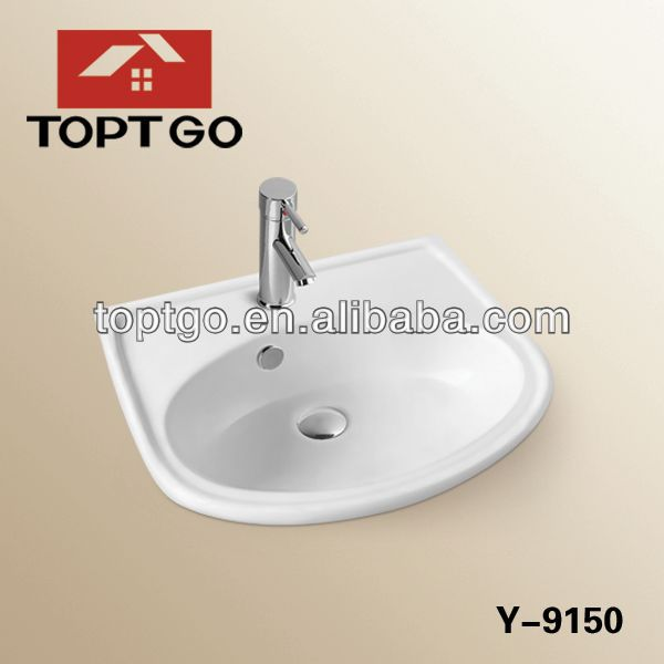 White Color 50cm Porcelain Oval Table Top Sink In Stock Y-9150