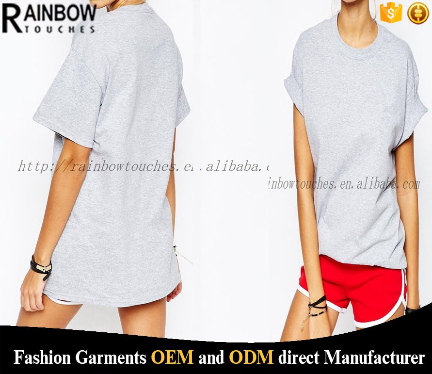 china factory grey drop shoulder blank oversized tshirt