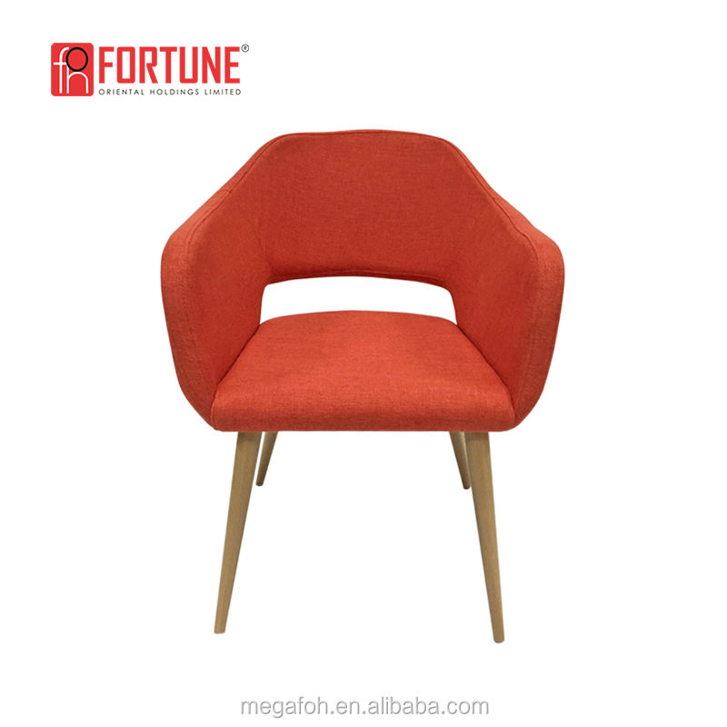 French Orange Fabric 4 Legs Wooden Internet Cafe Chair(FOH-17030Y)