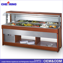 commercial wooden refrigerated salad bar for restaurant