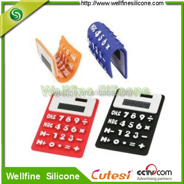 Pocket design silicone solar calculator can folding