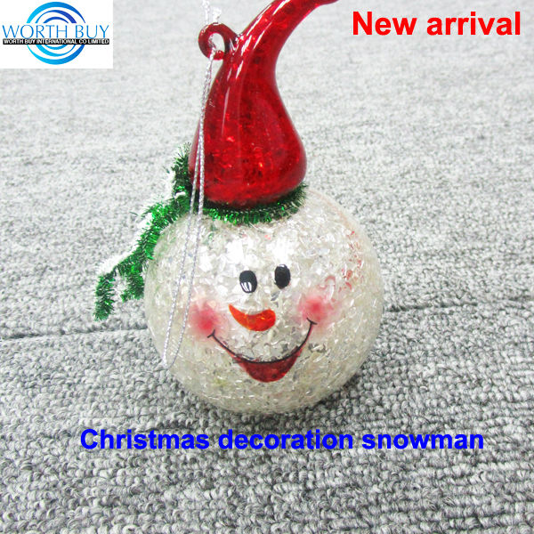 Christmas tinsel & hat decorated snowball glass christmas ornament supplier