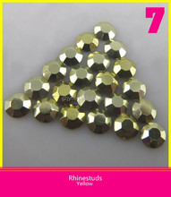 Hot Selling Yellow Color Rhinestuds Heat Transfer Octagon Hot Fix Loose Rhinestone Design