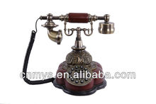The classical old wood antique telephone landline for old people
