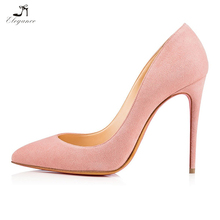 Chic Women Sexy Pink Pure Color Suede Pointed Closed Toe Stiletto High Heel Pumps Basic Dress Shoes