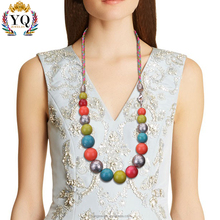 NYQ-00788 the latest handmade braided rope acrylic bead colorful necklace