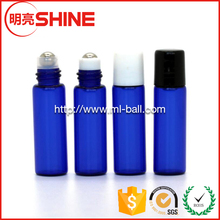 5ml Blue Color Glass Roll on Bottle Cosmetic with White Lid