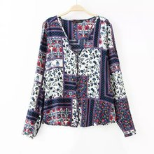 lady clothing button uo print chiffon top