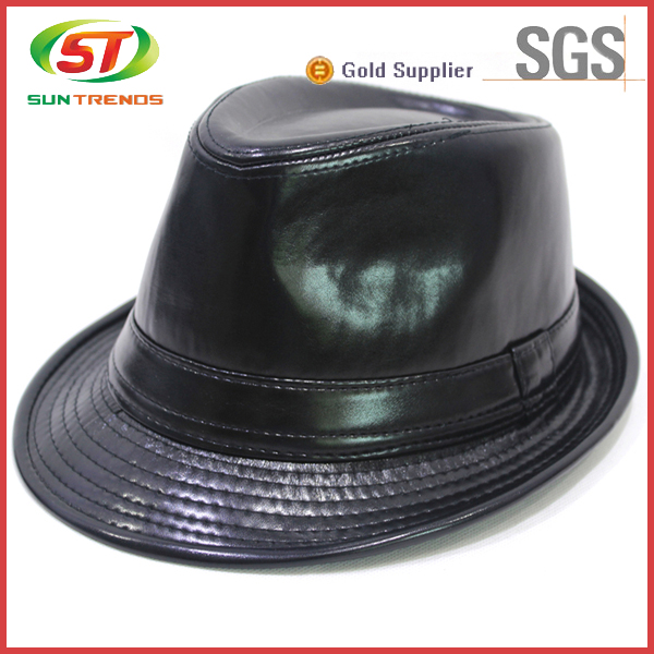 Wholesale Custom Design Leather Mens Black Fedora Hats