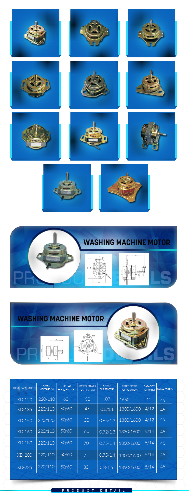 60w 70w 90w 120w 150w 180w Spin Machine Washing Machine ac motor