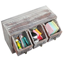Rustic Brown Wood Finish Desktop Office Organizer Drawers and wooden Craft Supplies Storage Cabinet