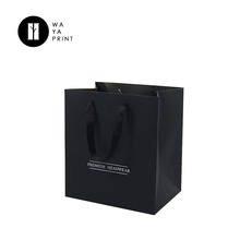 Manufactures black color square wide bottom paper bag for gift