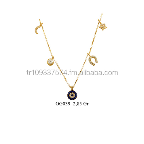 14K Solid Gold Good Luck Turkish Evil Eye Charm Necklace